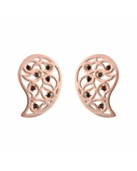 Sonal Bhaskaran - Pink Reya Rose Gold Paisley Earrings Clear Cz - Lyst