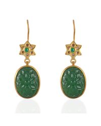 Emma Chapman Jewels - Green Samsara Diamond & Tsavorite Carved Earrings - Lyst
