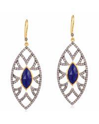 Meghna Jewels - Metallic Bora Bora Earrings Lapis & Diamonds - Lyst