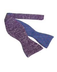 40 Colori Purple Aubergine & Silver Double Threaded Linen & Silk Knitted Butterfly Bow Tie for men