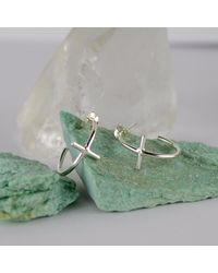 Marcia Vidal - Metallic Mini Silver Cross Hoop Earrings - Lyst