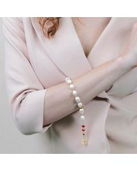 Farra Freshwater Pearls With Red Crystals Bracelet