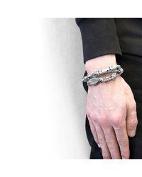 Anchor & Crew - Metallic Black Paignton Silver & Rope Bracelet for Men - Lyst