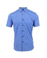 Lords of Harlech Blue Scott Shirt In Azure Leaves for men