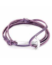Anchor & Crew | Grape Purple Clipper Silver & Leather Bracelet for Men | Lyst
