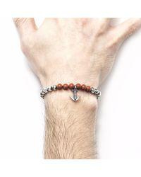 Anchor & Crew - Red Jasper Keel Silver & Stone Bracelet for Men - Lyst