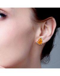 Artisan Multicolor 18kt Yellow Gold Fire Opal Stud Earrings Pink Sapphire Diamond Gemstone Jewelry
