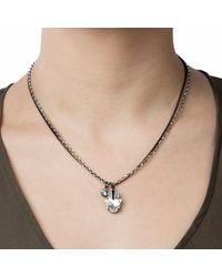 Nadia Minkoff - Metallic Hamsa Crystal Necklace Gunmetal - Lyst