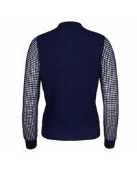 NY CHARISMA Blue Navy & White Two-tone Waffle Pattern Jacket