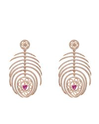 Latelita London - Multicolor Peacock Statement Feather Earring Rosegold - Lyst