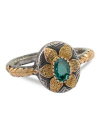 Emma Chapman Jewels - Green Lola Emerald Gold Flower Ring - Lyst