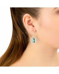 Latelita Petite Drop Earring Gold Blue Topaz Hydro