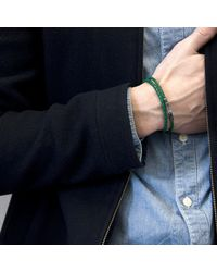 Anchor & Crew - Fern Green Liverpool Silver & Braided Leather Bracelet for Men - Lyst