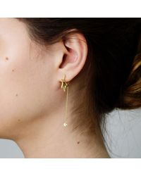 Tada & Toy - Metallic Crystallised Star Hoops Gold - Lyst
