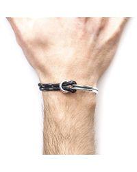 Anchor & Crew - Metallic Black Tay Silver & Rope Half Bangle for Men - Lyst