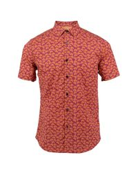Lords of Harlech - Red Scott Shirt In Mulberry Leaves for Men - Lyst