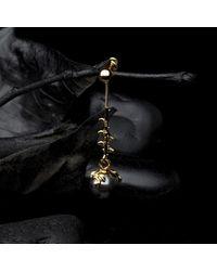 Kasun Black Drop Dark Grey Pearl Earrings