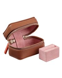 Stow Brown Luxury Travel Jewellery Case 3-piece Set Golden Quartz & Candy Pink