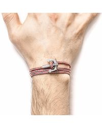Anchor & Crew - Red Dash Union Silver & Rope Bracelet for Men - Lyst