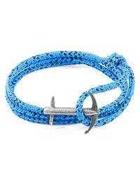 Anchor & Crew - Blue Noir Admiral Anchor Silver & Rope Bracelet - Lyst