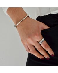 Opes Robur - Metallic Solid Silver Stacking Ring With Paved Diamonds - Lyst