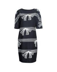 Nissa Black H-line Dress With Short Sleeves
