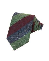 40 Colori Multicolor Burgundy Three Toned Striped Silk & Wool Tie for men
