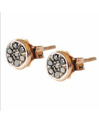 Sadekar Jewellery - Metallic Tiny Pave Earrings With Black Diamond - Lyst