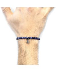 Anchor & Crew Blue Sodalite Starboard Silver And Stone Bracelet for men