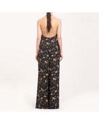 Paisie Black Wide Leg Halterneck Jumpsuit In Floral