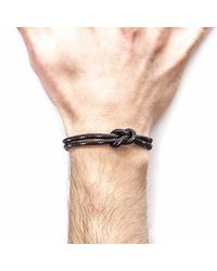 Anchor & Crew - Metallic Black Foyle Silver & Rope Bracelet for Men - Lyst