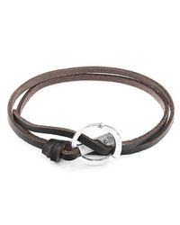 Anchor & Crew - Metallic Dark Brown Ketch Silver & Leather Bracelet for Men - Lyst