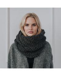 Alma Knitwear Gray Niki Alpaca Scarf Dark Grey
