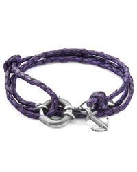 Anchor & Crew - Metallic Grape Purple Clyde Silver & Braided Leather Bracelet for Men - Lyst