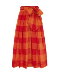 Emily and Fin Red Jemima Heatwave Check Skirt