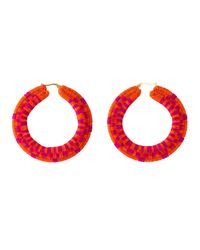 Caimana Multicolor Isabel Raffia Hoops Orange & Fuchsia