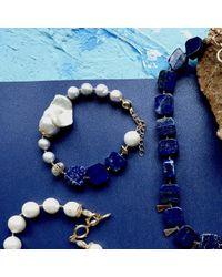 Farra Blue Natural Lapis Lazuli Bracelet With Freshwater Pearls
