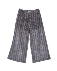 Ardent & Co Gray Stretchy Full Length A-line Jacquard Lace Trousers