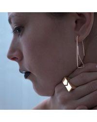 Elsa - Metallic Geoneo 9k Rose Gold Paperclip Earrings - Lyst