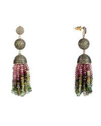 Latelita London - Multicolor Tassel Ball Earring Tourmaline Peridot Cz - Lyst