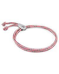 Anchor & Crew - Red Noir Union Silver & Rope Bracelet for Men - Lyst