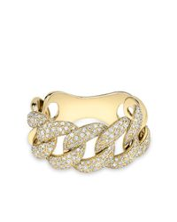 Anne Sisteron Metallic Yellow Gold Luxe Light Diamond Chain Link Ring
