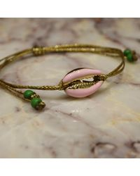 Roses Are Red Metallic Shell Bracelet Pink
