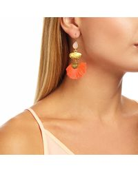 Ottoman Hands - Pink Rose Quartz Stone & Coral Tassel Earrings - Lyst