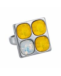 Nadia Minkoff | Multicolor Four Stone Square Ring Yellow | Lyst