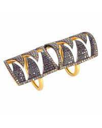 Meghna Jewels - Interlocking Claw Ring Black & Champagne Diamonds - Lyst