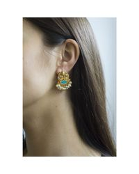 Carousel Jewels Multicolor Turquoise And Mother Of Pearl Earrings