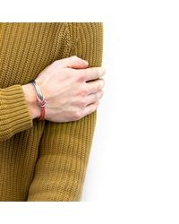 Anchor & Crew - Metallic Pink Tay Silver & Rope Half Bangle for Men - Lyst