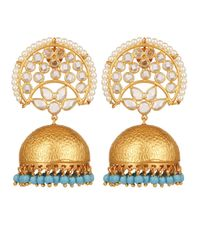 Carousel Jewels Metallic Crystal & Turquoise Chandelier Statement Earrings