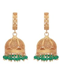 Carousel Jewels Multicolor Gold & Green Onyx Chandelier Statement Earrings